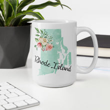 Load image into Gallery viewer, Rhode Island RI Map Floral Coffee Mug - White