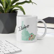 Load image into Gallery viewer, Idaho ID Map Floral Coffee Mug - White