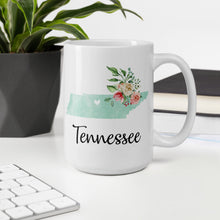 Load image into Gallery viewer, Tennessee TN Map Floral Coffee Mug - White