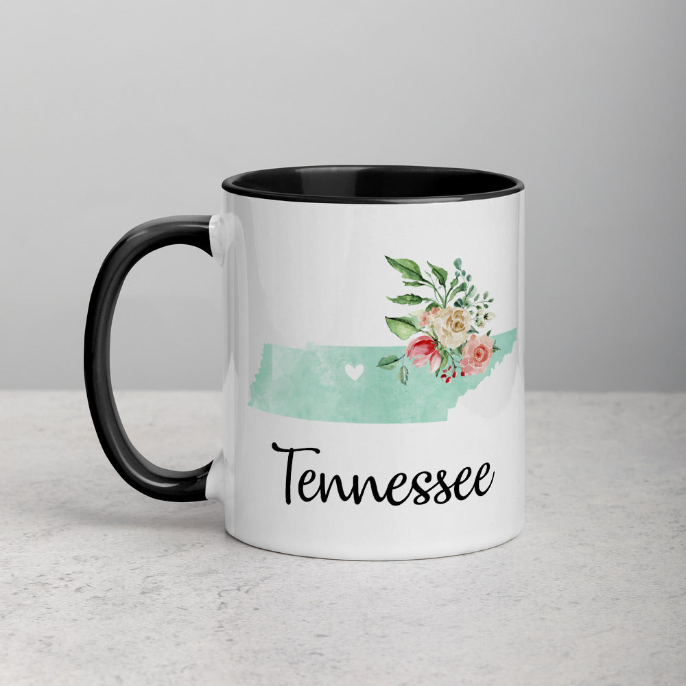 Tennessee TN Map Floral Mug - 11 oz