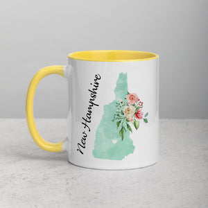 New Hampshire NH Map Floral Mug - 11 oz