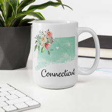 Load image into Gallery viewer, Connecticut CT Map Floral Coffee Mug - White