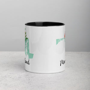 Maryland MD Map Floral Mug - 11 oz
