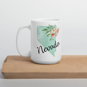Nevada NV Map Floral Coffee Mug - White