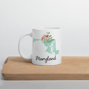 Maryland MD Map Floral Coffee Mug - White