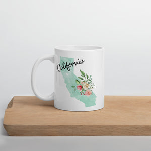 California CA Map Floral Coffee Mug - White
