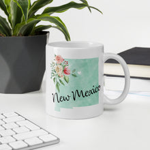 Load image into Gallery viewer, New Mexico NM Map Floral Coffee Mug - White