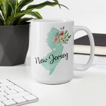 Load image into Gallery viewer, New Jersey NJ Map Floral Coffee Mug - White