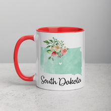 Load image into Gallery viewer, South Dakota SD Map Floral Mug - 11 oz