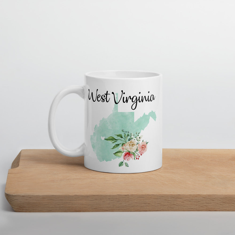 West Virginia WV Map Floral Coffee Mug - White