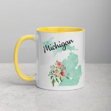 Load image into Gallery viewer, Michigan MI Map Floral Mug - 11 oz