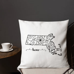 Massachusetts MA State Map Premium Pillow