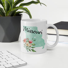 Load image into Gallery viewer, Missouri MO Map Floral Coffee Mug - White