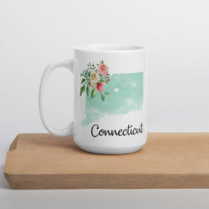 Connecticut CT Map Floral Coffee Mug - White