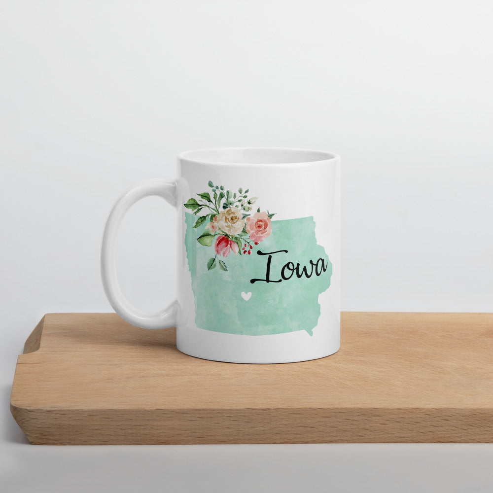 Iowa IA Map Floral Coffee Mug - White