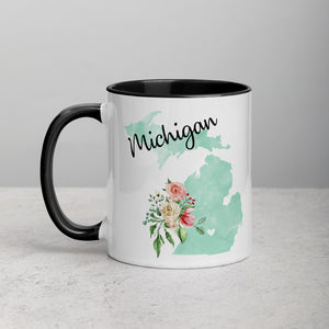 Michigan MI Map Floral Mug - 11 oz