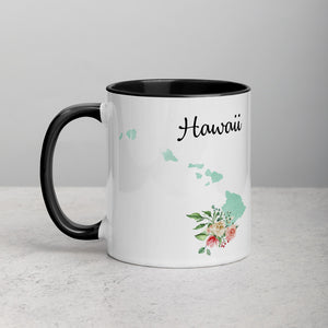 Hawaii HI Map Floral Mug - 11 oz
