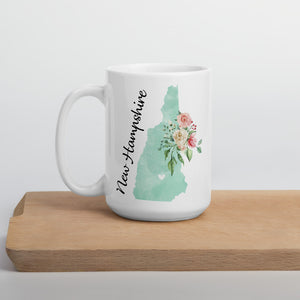 New Hampshire NH Map Floral Coffee Mug - White