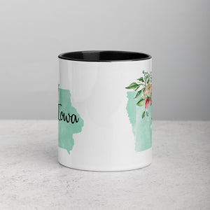 Iowa IA Map Floral Mug - 11 oz