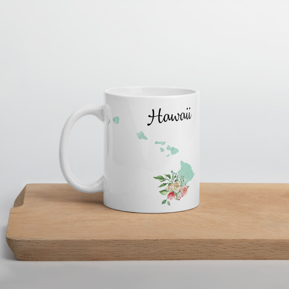 Hawaii HI Map Floral Coffee Mug - White