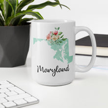 Load image into Gallery viewer, Maryland MD Map Floral Coffee Mug - White