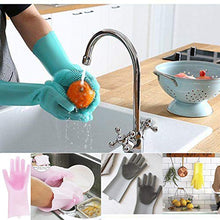 Load image into Gallery viewer, Magic Silicone Dishwashing Scrubber Dish Washing Sponge Rubber Scrub Gloves Kitchen Cleaning 1 Pair
