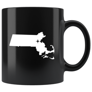 Massachusetts Coffee Mug - Black 11oz. - MA - MissionMint