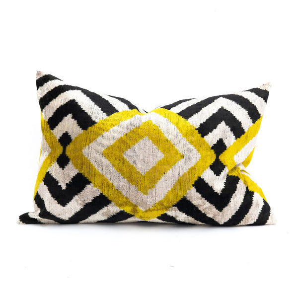 Yellow Diamonds Velvet/Silk Lumbar Pillow