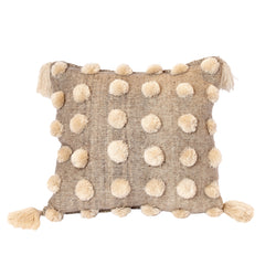 Tan Pom Pom Pillow
