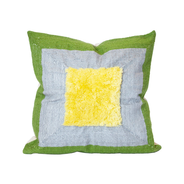 Albers Green and Yellow Recycled Square Pillow