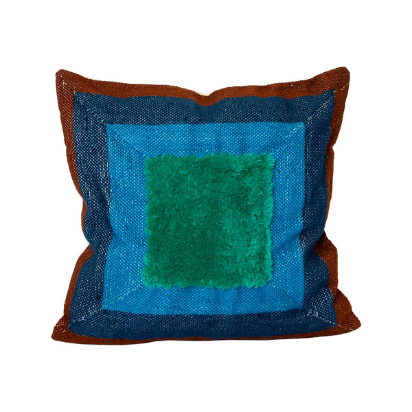Albers Brown & Blues Recycled Square Pillow