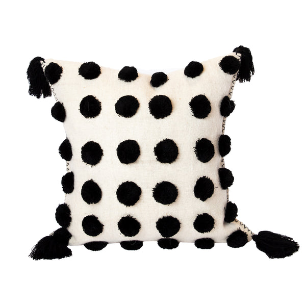 Black & White Pom Pom Pillow