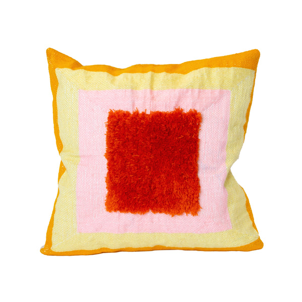 Alber's Yellow & Pink Recycle Square Pillow