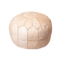 Round Blush Leather Pouf