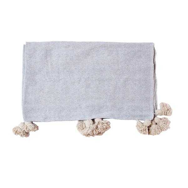 Grey & Cream Pom Throw