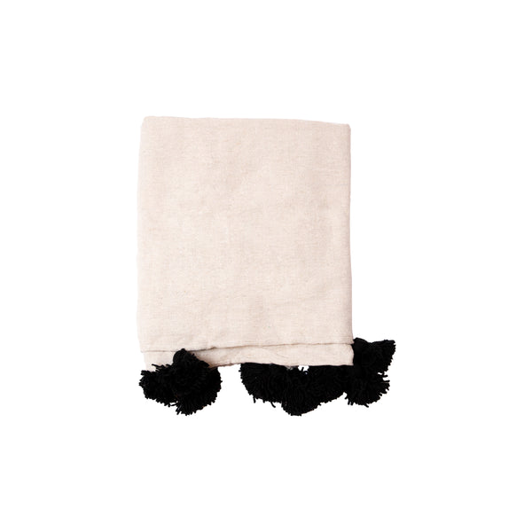 Cream & Black Pom Throw