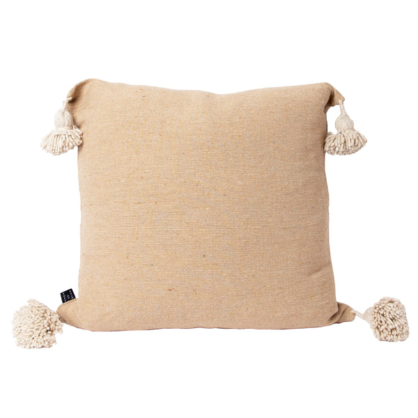 Tan & Cream Pom Square Pillow