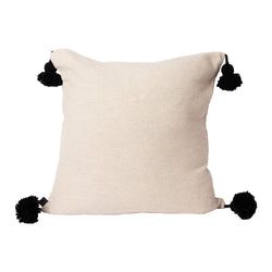 Cream & Black Pom Pom Square Pillow