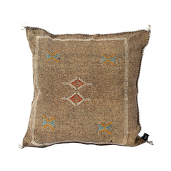 Dark Umber Cactus Silk Square Pillow
