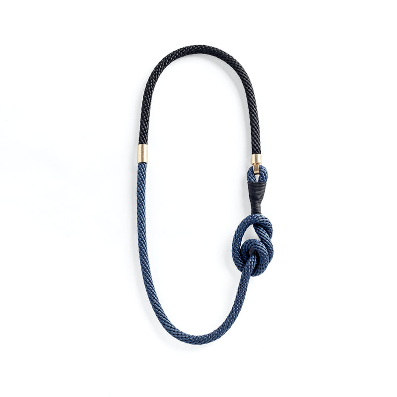 Blue Black Knot Necklace