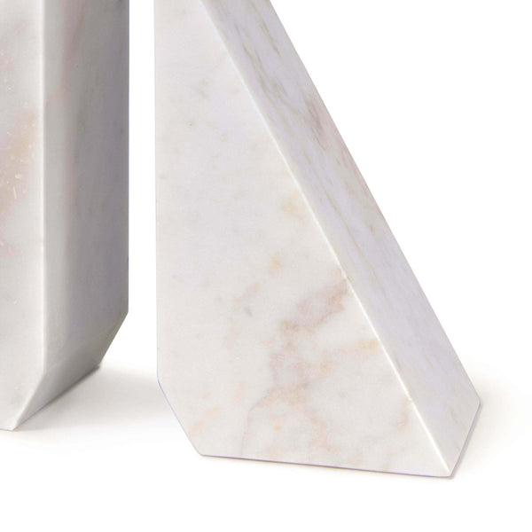 White Marble Angular Bookends