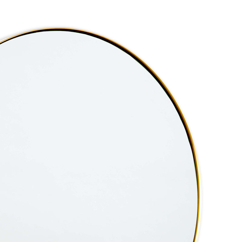 Round Framed Mirror - Natural Brass