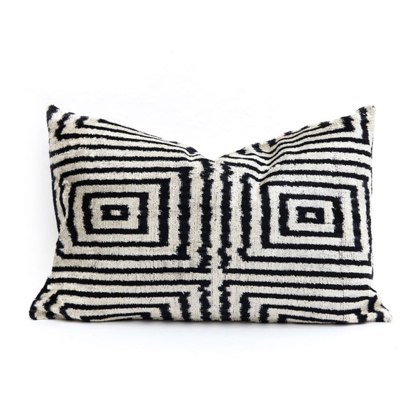 Black Design Velvet/Silk Lumbar Pillow