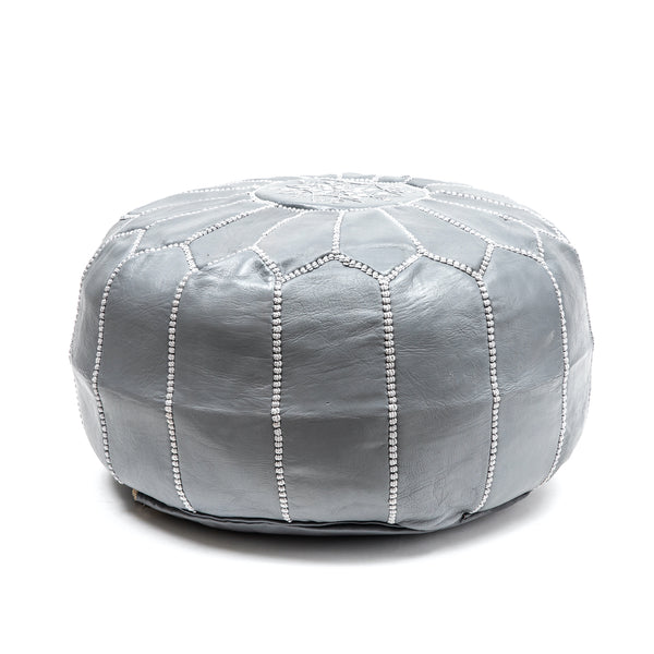 Round Grey Leather Pouf