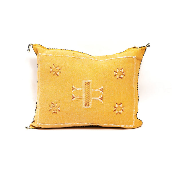 Yellow Cactus Silk Lumbar Pillow