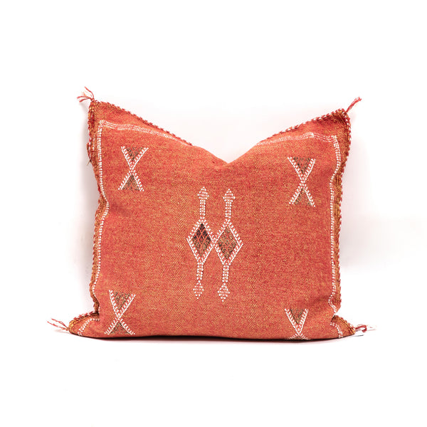 Rustic Red Cactus Silk Square Pillow