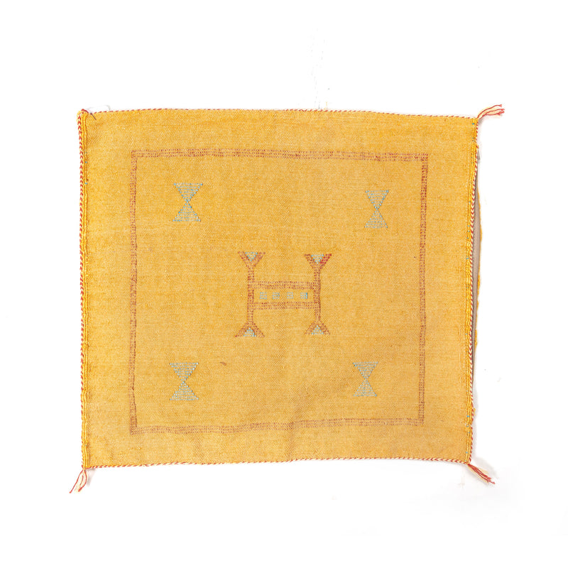 Mustard Cactus Silk Square Pillow