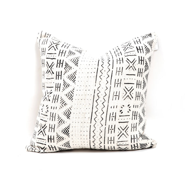 White Mud Cloth Square Pillow