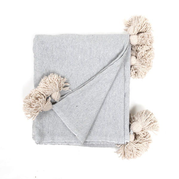Light Grey Pom Throw