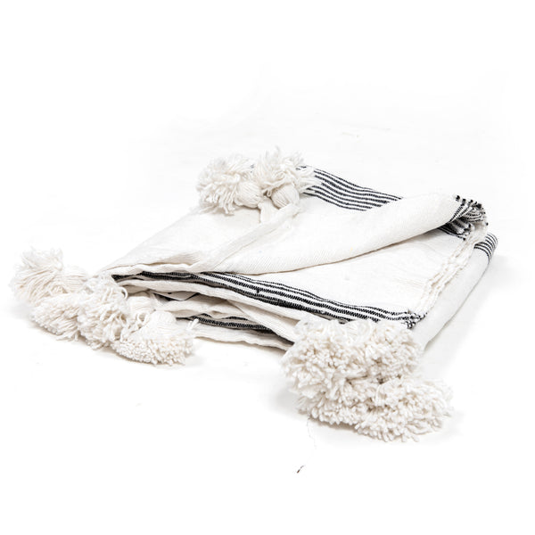 B/W Thin Stripe Pom Throw
